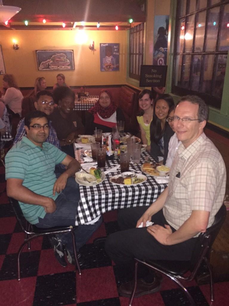 Research Group Lunch June 2015: From left: Dr. Kuldeep Roy, Pankaj Pandey, Shuneize Slater, Manal Nael, Cameron Lee, Valerie Huang, Ngoc Nguyen, Dr. Robert Doerksen