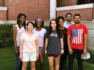 Phote of Doerksen Research Group Summer 2017: From Left, AyoOluwa Aderibigbe, Rachel Kroeger, Kamesha Adams, Genevieve Halingten-Verville, Jennifer Gross, Dr. Pankaj Pandey, and Mukesh Ghimire